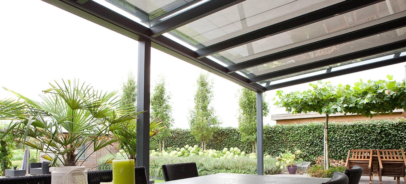 Verandazonwering voor terrasoverkapping lichtstraat serre of dakraam - Veranda met dakraam ...
